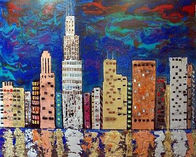 Chicago Metallic Skyline Reflections Print by Char Swift