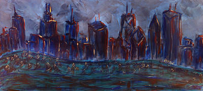 Batman Building Painting - Chicago Night Skyline With Lake Sail Boats On Water Buildings And Architecture In Blue Orange Green  by M Zimmerman MendyZ