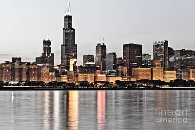 Chicago Skyline At Dusk Photo Print by Paul Velgos