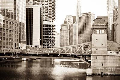 Chicago Skyline At Lasalle Street Bridge Print by Paul Velgos