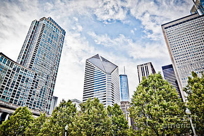 Stone Buildings Photograph - Chicago Skyline At Millenium Park by Paul Velgos