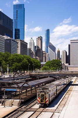 Stone Buildings Photograph - Chicago Skyline With Metra Train Station by Paul Velgos