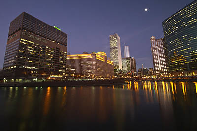 Chicago Sun-times Building And Look Down River  Print by Sven Brogren