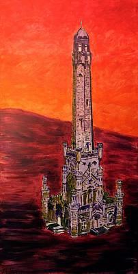 Batman Building Painting - Chicago Watertower Michigan Ave Gold Coast Skyline Building Architecture In Purple Red Orange Fire by MendyZ M Zimmerman