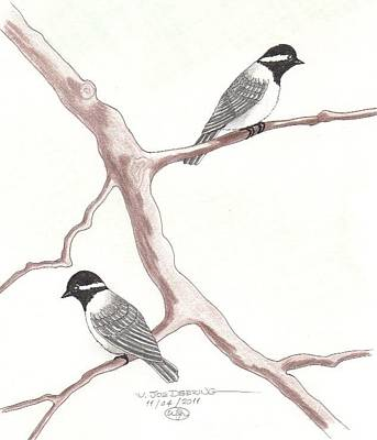 Chickadees Print by William Deering