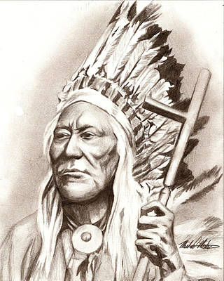 Redskins Mixed Media - Chief Washakie by Michael Mestas