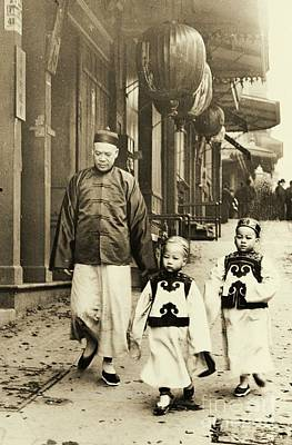 Paper Lantern Photograph - Children Dressed For New Year Visit by Padre Art