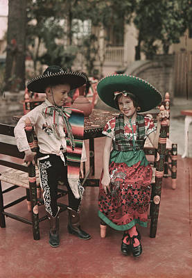 Mexican Fiesta Photograph - Children In Costume Reenact Colonial by B. Anthony Stewart