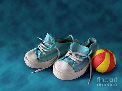 Children Sneakers Print by Carlos Caetano