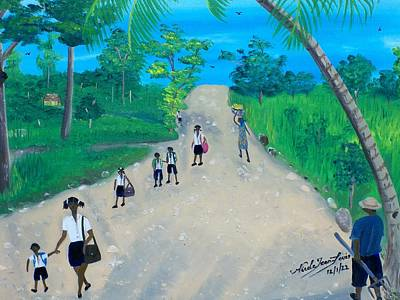 Education Painting - Children Walking To School by Nicole Jean-Louis