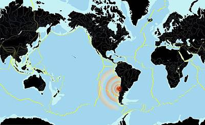 Chile 2010 Earthquake, World Map Print by Gary Hincks