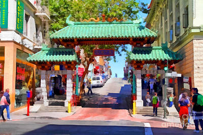 Bay Area Digital Art - Chinatown Gate In San Francisco . 7d7139 by Wingsdomain Art and Photography