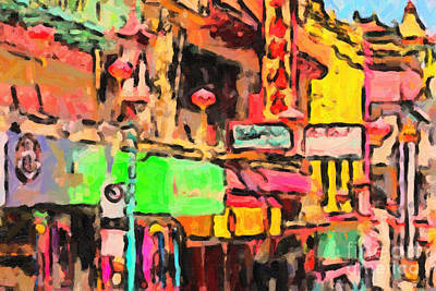 Bay Area Digital Art - Chinatown In Abstract by Wingsdomain Art and Photography