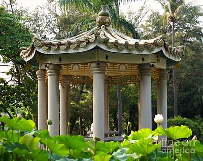 Peaceful Symbols Photograph - Chinese Pavilion In A Lotus Flower Garden by Yali Shi