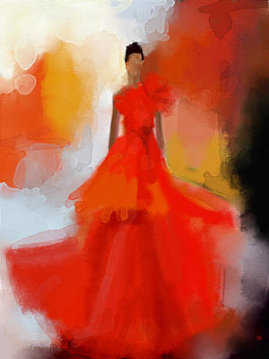 Digital Painting - Christian Siriano Red Dress Fashion Illustration by Beverly Brown Prints