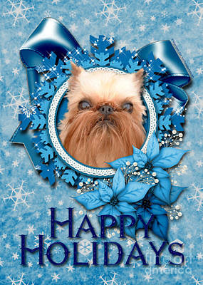 Griffon Digital Art - Christmas - Blue Snowflakes Brussels Griffon by Renae Laughner