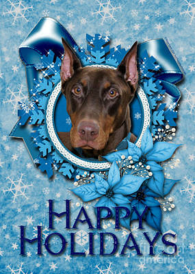 Christmas - Blue Snowflakes Doberman Print by Renae Laughner