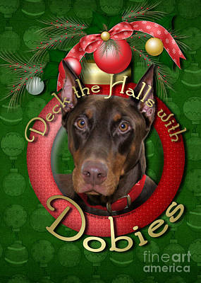 Christmas - Deck The Halls With Dobies Print by Renae Laughner