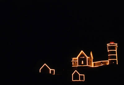 Christmas At The Nubble Print by Skip Willits
