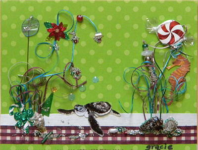 Gracie Mixed Media - Christmas Beach by Gracies Creations