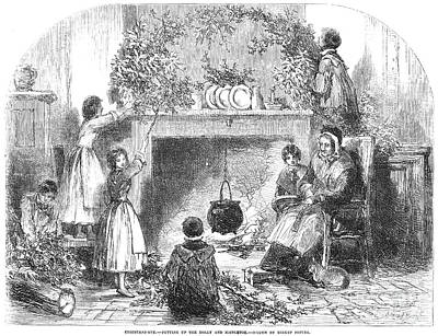 Holly Mother Photograph - Christmas Eve, 1855 by Granger