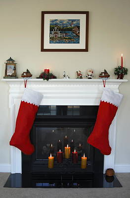 Decorated For Christmas Photograph - Christmas Fireplace by Sally Weigand