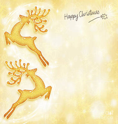 Christmas Holiday Card Golden Background Reindeer Decorative B Print by Anna Omelchenko