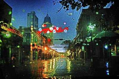 Christmas Lights At 3 Georges In Mobile Al Print by Michael Thomas