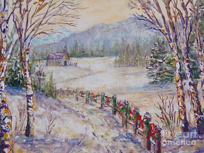 New England Snow Scene Painting - Christmas by Lou Ann Bagnall