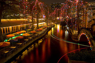 Christmas On The Riverwalk 2 Print by Paul Huchton