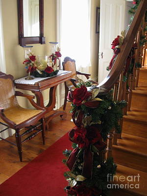 Decorated For Christmas Photograph - Christmas Rose And Stairs  by Nancy Patterson