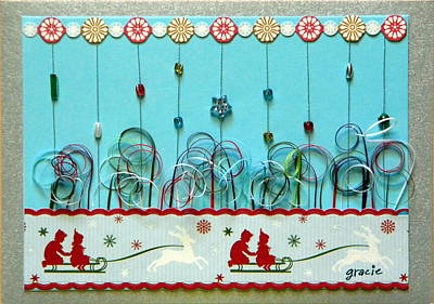 Gracie Mixed Media - Christmas Sled by Gracies Creations