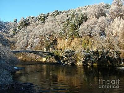 Christmas Snow At Craigellachie Bridge Print by John Kelly