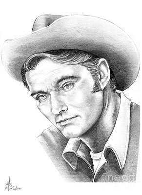 Celebrity Drawing - Chuck Conners-rifleman by Murphy Elliott