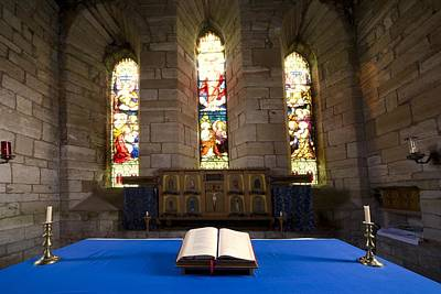 Church And Open Bible, Holy Island Print by John Short