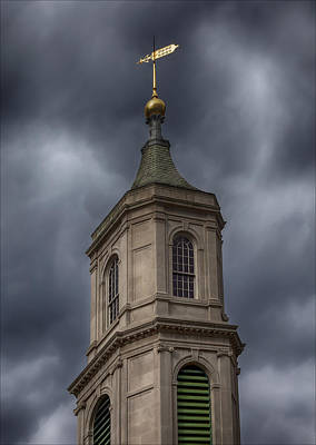 Church Steeple And Storm Clouds Print by Robert Ullmann