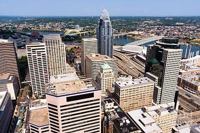 Ohio River Landscapes Photograph - Cincinnati Aerial Skyline 2012 by Paul Velgos
