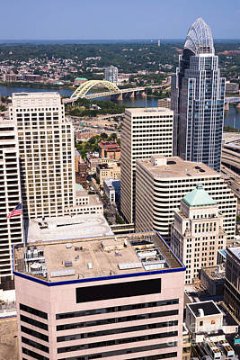 Ohio River Landscapes Photograph - Cincinnati Aerial Skyline Downtown City Buildings by Paul Velgos