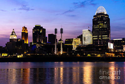 Ohio River Landscapes Photograph - Cincinnati At Night Downtown City Skyline by Paul Velgos