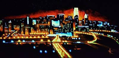 Sunsert Painting - Cincinnati By Black Light by Thomas Kolendra