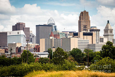 Ohio Photograph - Cincinnati Skyline Downtown City Buildings by Paul Velgos