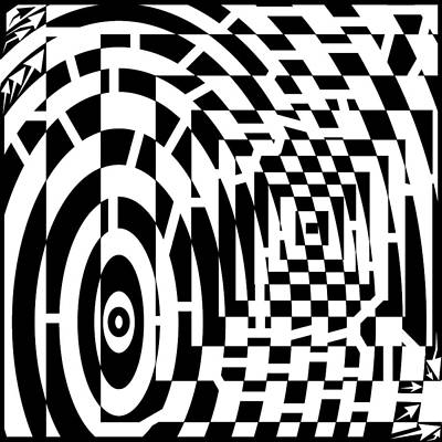 Frimer Drawing - Circles And Square Tunnels Converging Maze by Yonatan Frimer Maze Artist