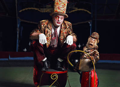 Circus Clown With A Monkey. Original by Kireev Art