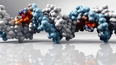 Cisplatin Cancer Drug And Dna Molecule Print by Phantatomix