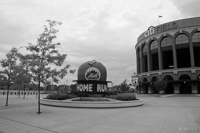 Stadium Scene Digital Art - Citi Field In Black And White by Rob Hans