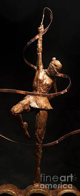 Citius Altius Fortius Olympic Art Gymnast Over Black Original by Adam Long