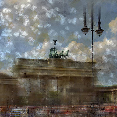 Tourist Attraction Digital Art - City-art Berlin Brandenburger Tor II by Melanie Viola