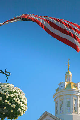 City Hall Dome And Flag Print by Steven Ainsworth
