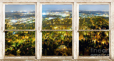 Picture Window Frame Photos Art Photograph - City Lights White Rustic Picture Window Frame Photo Art View by James BO  Insogna