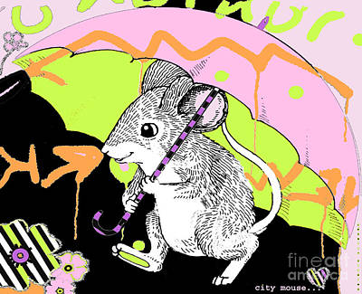 Juvenile Licensing Mixed Media - City Mouse Baby Licensing Art by Anahi DeCanio